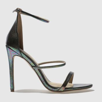 Missguided Green 3 Strap Metallic Snake Womens High Heels