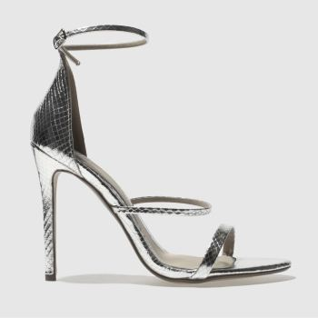 Missguided Silver 3 STRAP METALLIC SNAKE High Heels