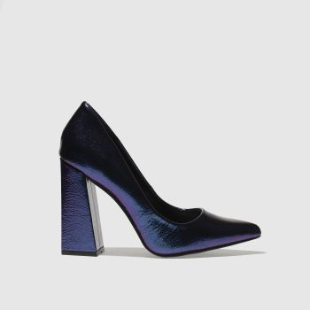 MISSGUIDED BLUE FLARED POINT HEEL HIGH HEELS