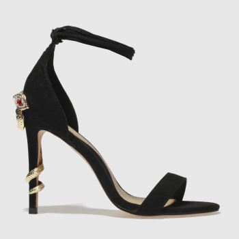 Missguided Black & Gold Barely There Snake Womens High Heels