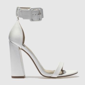 Missguided White 2 Strap Block Heel Womens High Heels