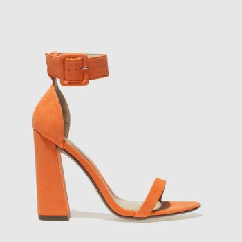 Missguided Orange 2 Strap Block Heel Womens High Heels