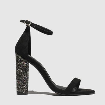 120693374406 Missguided Black Barely There Glitter Block Womens High Heels