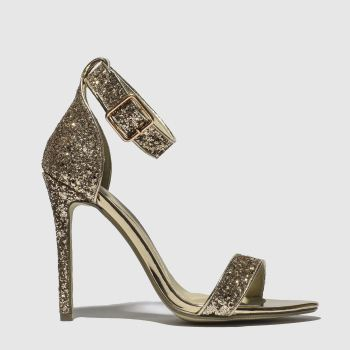 Missguided Gold Flat Strap Glitter Womens High Heels a72fab3df