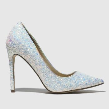 Missguided White & Silver FULL GLITTER COURT High Heels