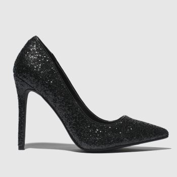 Missguided Black Full Glitter Court Womens High Heels