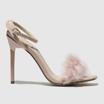 Missguided Pale Pink Shiny Barely There Feather Womens High Heels