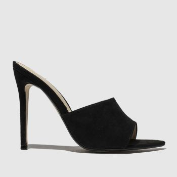Missguided Black Faux Suede Peep Toe Mule Womens High Heels