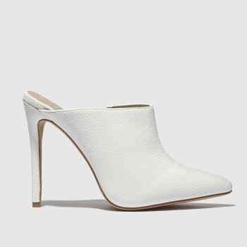 Missguided White Pointed Toe Heeled Mule Womens High Heels