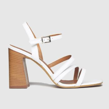 schuh White Complex Strappy Sandal Low Heels