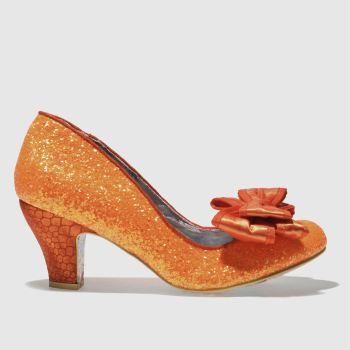 Irregular Choice Orange Banjoe Glitter Womens Low Heels