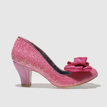Irregular Choice Pink Banjoe Glitter Womens Low Heels