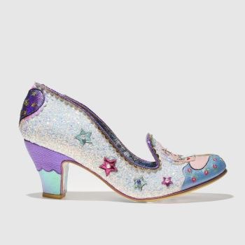 IRREGULAR CHOICE WHITE & BLUE LITTLE MISTY LOW HEELS