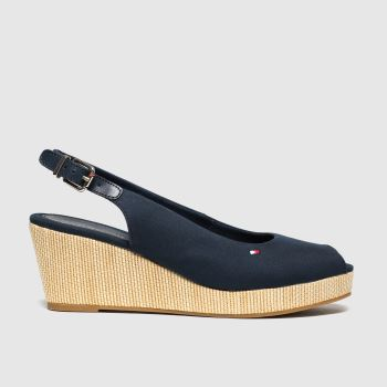 Tommy Hilfiger Navy Iconic Elba Slingback Wedge Womens Low Heels