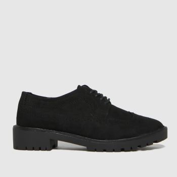 schuh Black Lipa Brouge Lace Up Womens Flats
