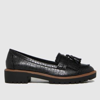 schuh Black Livia Croc Tassel Loafer Womens Flats