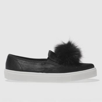 SCHUH BLACK AWESOME POM POM FLAT SHOES
