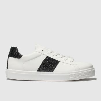 Schuh White & Black Bedazzle Womens Trainers