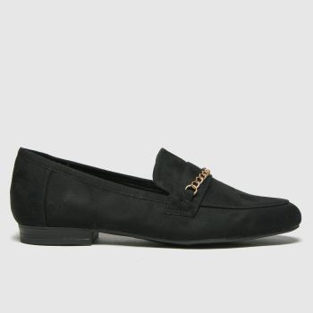 schuh Black Lydia Chain Detail Loafer Flats