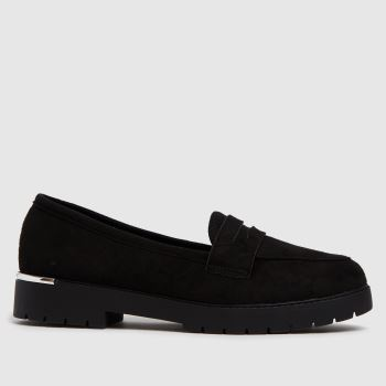schuh Black Lilith Suedette Loafer Womens Flats