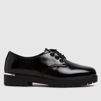 schuh Black Logan Patent Lace Up Shoe Flats