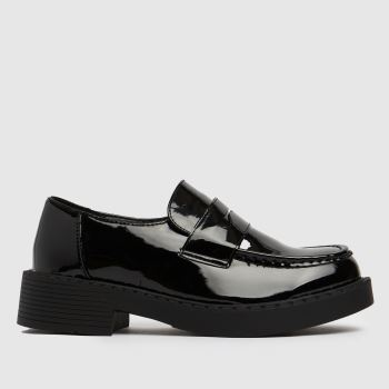 schuh Black Leo Patent Chunky Loafer Womens Flats