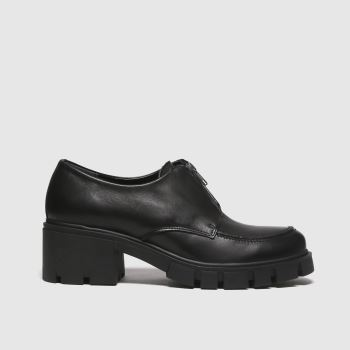 schuh Black Lisa Leather Zip Front Shoe Flats