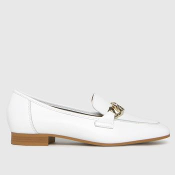 schuh White Lina Leather Chain Loafer Womens Flats