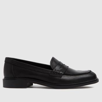 schuh Black Lamara Leather Penny Loafer Womens Flats