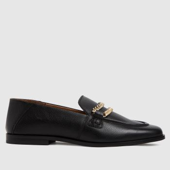 schuh Black Leandra Leather Chain Loafer Womens Flats