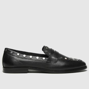 schuh Black Lia Studded Leather Womens Flats