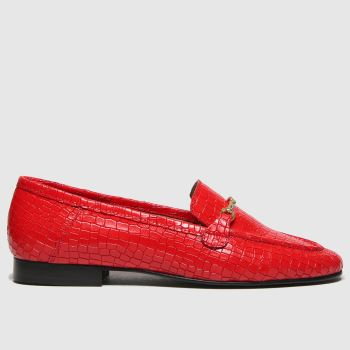 schuh Red Lilly Croc Leather Womens Flats