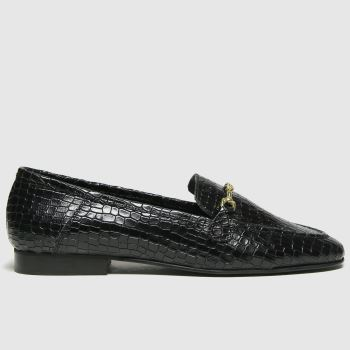 schuh Black Lilly Croc Leather Womens Flats