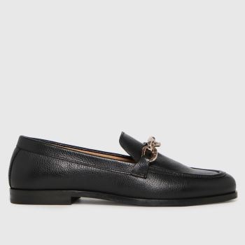 schuh Black Libby Leather Chain Womens Flats