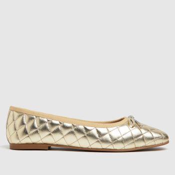 schuh Gold Latitia Square Toe Padded Womens Flats