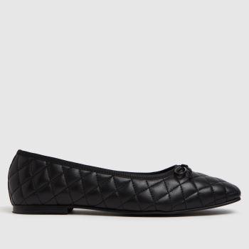 schuh Black Latitia Square Toe Padded Womens Flats