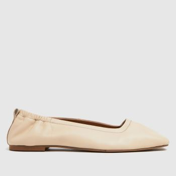 schuh White Lenore Square Toe Ruched Womens Flats