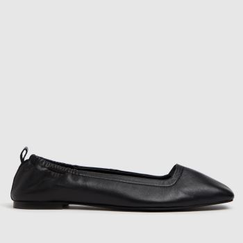 schuh Black Lenore Square Toe Ruched Womens Flats