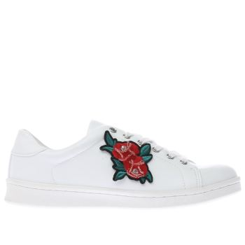 SCHUH WHITE TRAPEZE ROSE FLAT SHOES