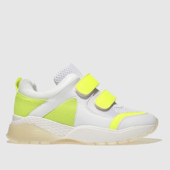 Schuh White & Yellow Cray Womens Trainers