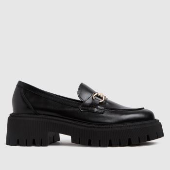 schuh Black Lilo Chunky Leather Loafer Womens Flats