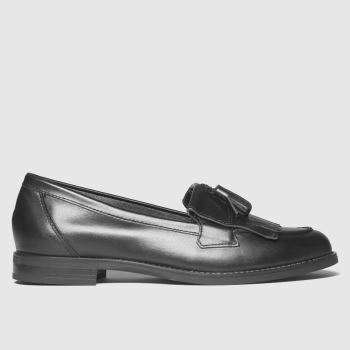 schuh Black Leather Compass Loafer Womens Flats