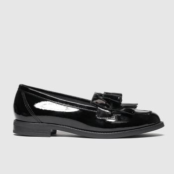 schuh Black Compass Leather Loafer Womens Flats