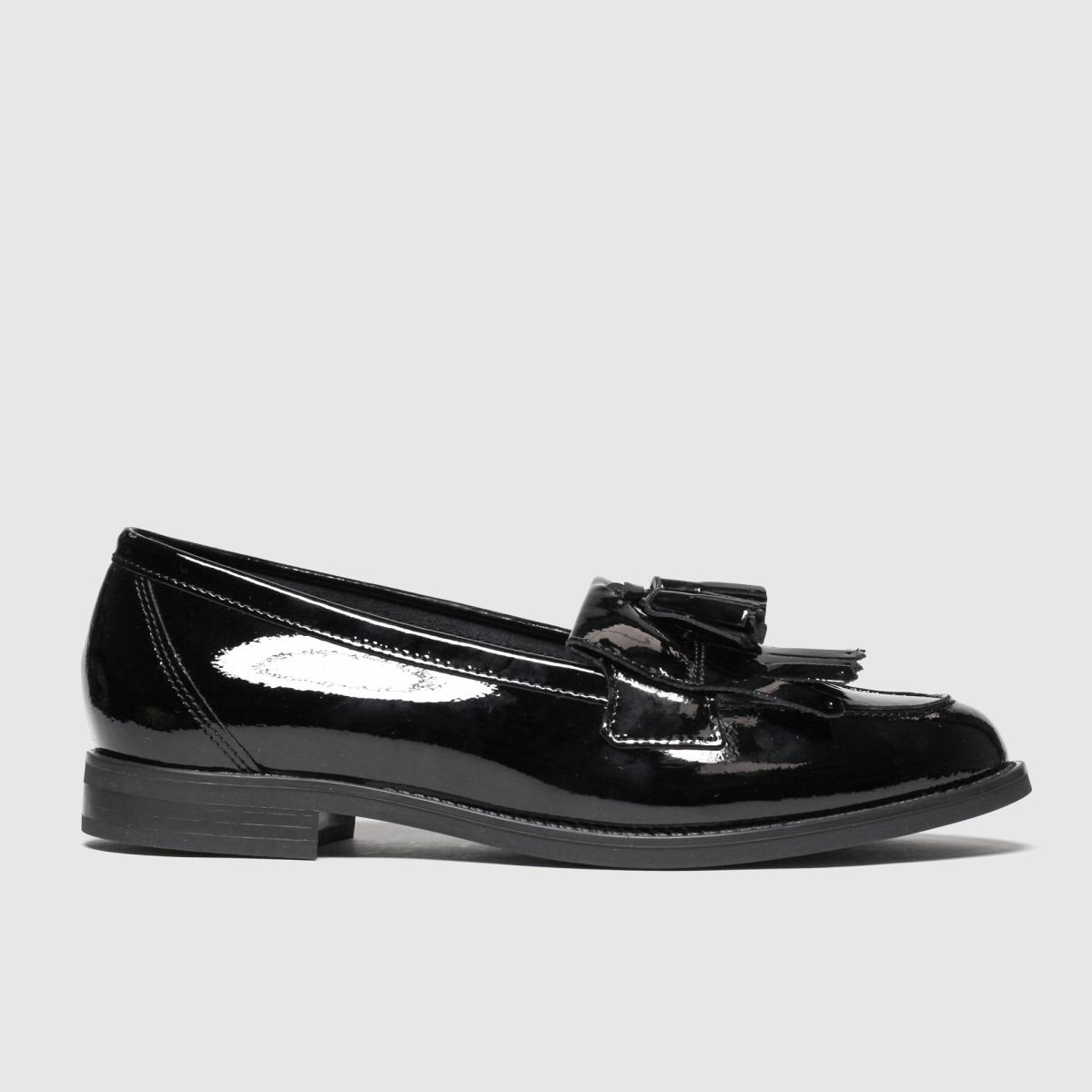 schuh Schuh Black Compass Leather Loafer Flat Shoes