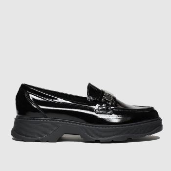 schuh Black Clueless Leather Loafer Womens Flats