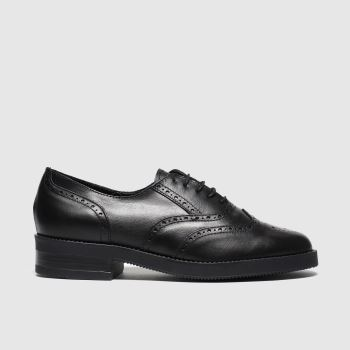 Schuh Schwarz House Party Ii Leather Lace Up Damen Flats
