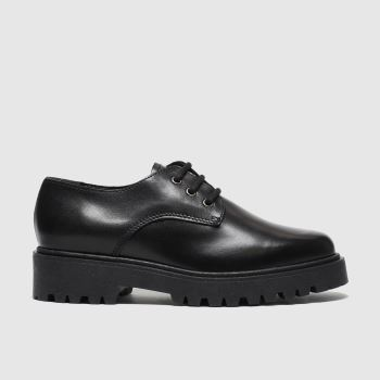 Schuh Schwarz High Key Leather Lace Up Damen Flats