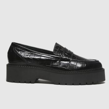 schuh Black Laura Croc Leather Loafer Womens Flats