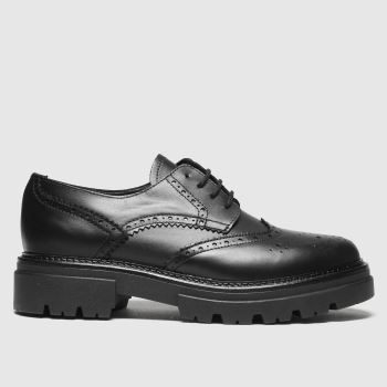 schuh Black Lena Chunky Leather Brogue Womens Flats