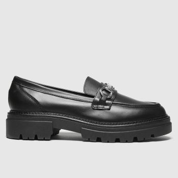 schuh Black Leemar Snaffle Leather Loafer Womens Flats